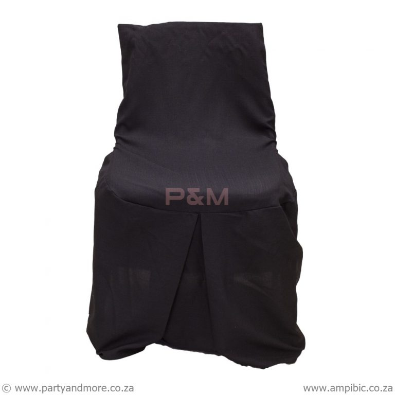 Black skirt chaircover used for adult plastic chairs