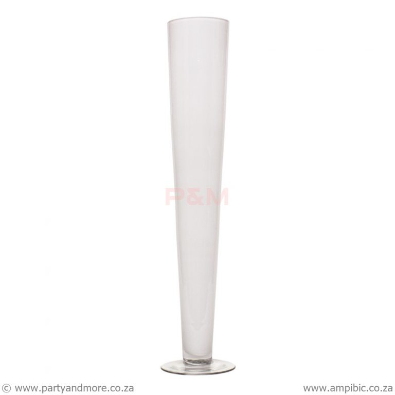 Vase White Cone clear base