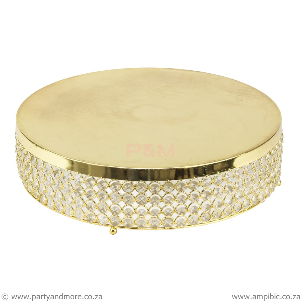 Cakestand crystal beaded gold