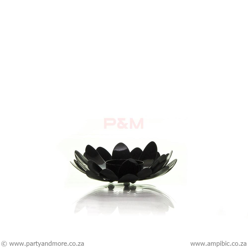 Candleholder lotus flower Black