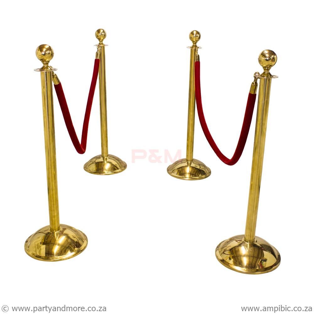 Stanchion Rope - Red/Velvet Gold