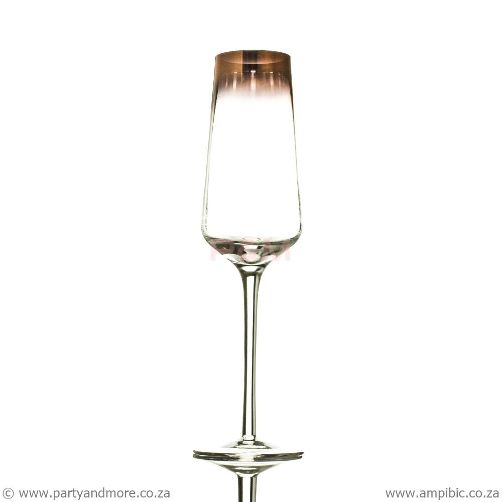 Champagne Glass Rose Gold rim